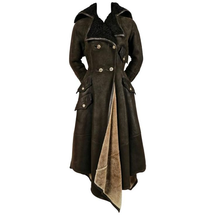 1993 GIANNI VERSACE olive shearling coat with Astrakhan trim | From a collection of rare vintage coats and outerwear at https://www.1stdibs.com/fashion/clothing/coats-outerwear/
