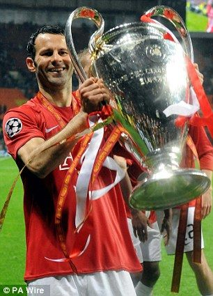 Giggs lifts the prestigious Champions League trophy in 2008...
