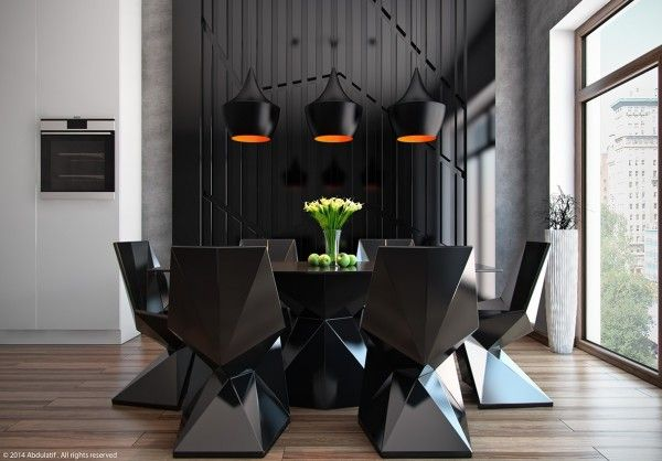 Black is certainly not the most common color for dining but the drama is unparalleled.