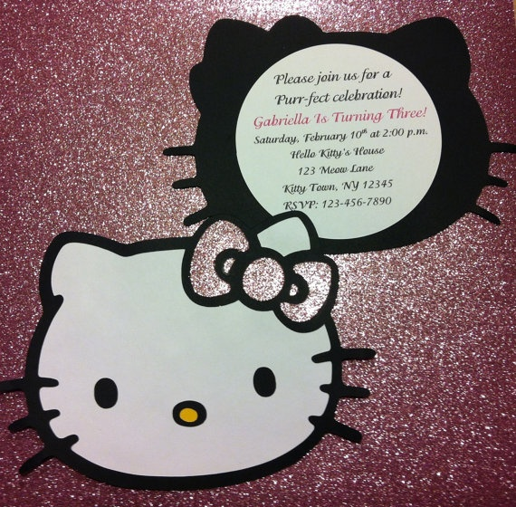 10 Hello Kitty invitations by GabbyCatCreations on Etsy, $15.00