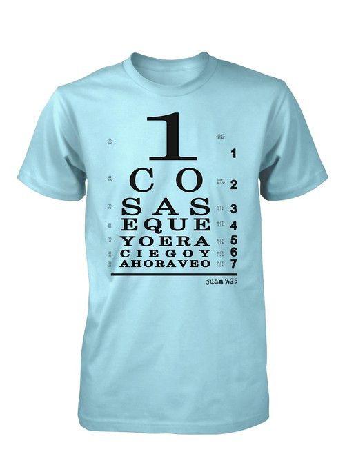 Ahora veo con Jesus Tabla Ocular Optometrica Snellen Camiseta Cristiana