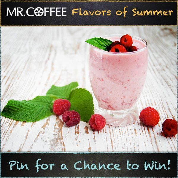 Is Raspberry Green Tea your favorite flavor of frappe? You could win a Mr. Coffee® Café Frappe! Enter our Pinterest contest today -- visit us on http://on.fb.me/1qsda4s to enter. Contest ends 7/25/14. Good luck and don't forget to click the pin to see the recipe! #MrCoffee #Coffee #summer #contest #pintowin [Promotional Pin]