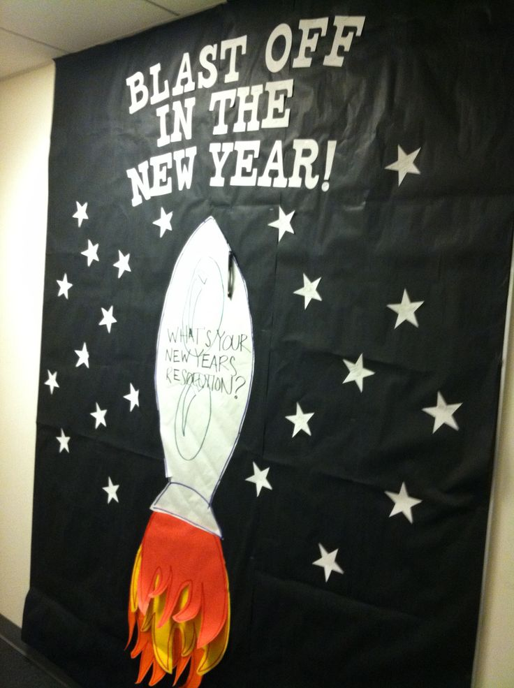 """""""Blast Off in the New Year"""" January bulletin board. We had residents write new years' resolutions or goals on stars. Also, that's a poorly constructed rocket ship that I made."""