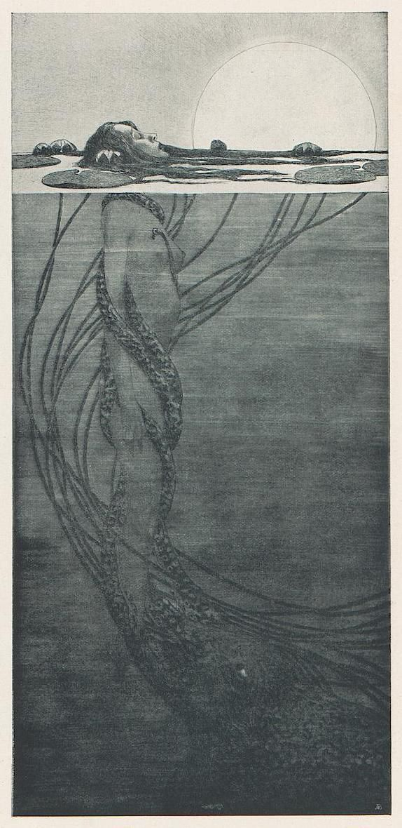 Mermaid - Etching by Fritz Hegenbart from The Journal of Applied Arts and Crafts 1851.