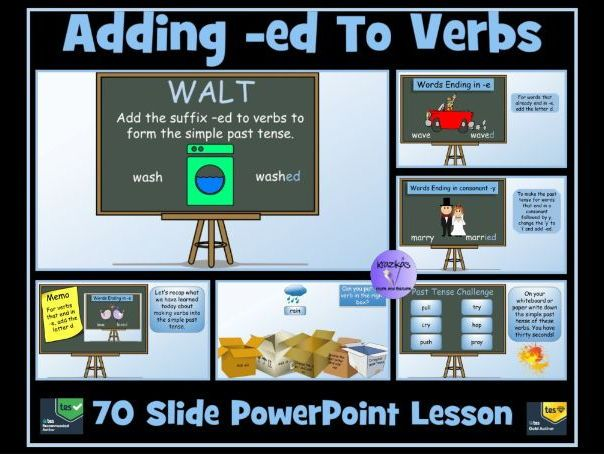 Adding -ed, -d, -ied  to Verbs To Form Simple Past Tense- 90 Slide PowerPoint Lesson
