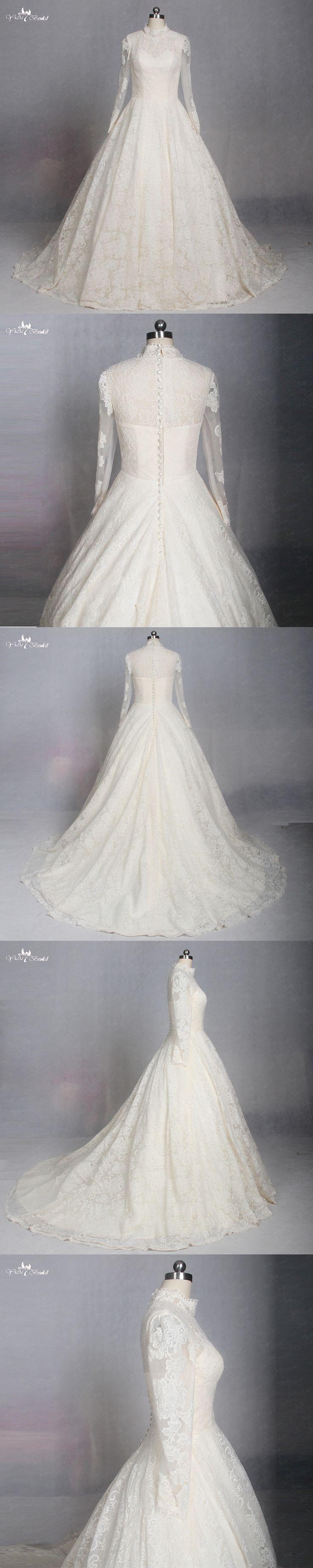 LZ180 Yellow High Neck Long Sleeve Wedding Dress Muslim Wedding Dresses Lace Dress Vestido De Noiva
