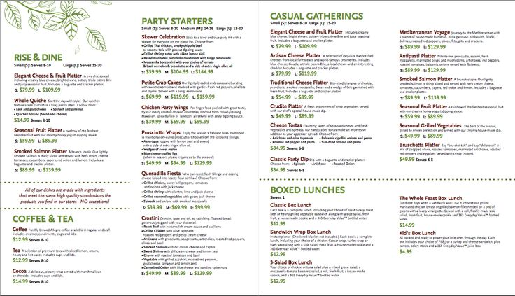 Whole Foods Catering Menu 1