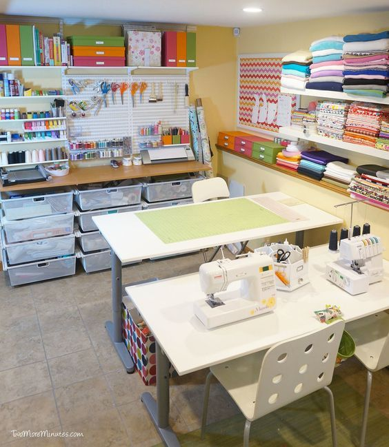 This craft space is doable and very efficient. - I love looking at pictures of craft rooms and there are some AMAZING ones out there. Some look too pretty to actually use! My craft space is pretty small. I think at best, it's 8' x 10'. It really isn't even a room, but a corner of a room in my office. I use this corner for crafts and use the other half of the room for my 'real job' as a graphic designer.