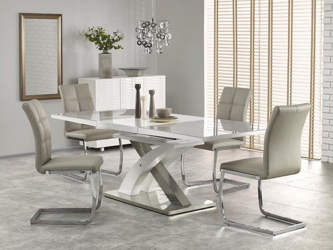 Dining Table Sandor 2 Gray White For 6 To 8 People Jidelni