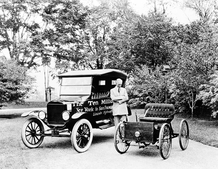 Shown on the grounds of his home, Fair Lane Estate in 1924, Henry Ford stands between his first car, the Quadricycle built in 1896, and Ford Motor Company's 10 millionth car, a 1924 Model T touring car.