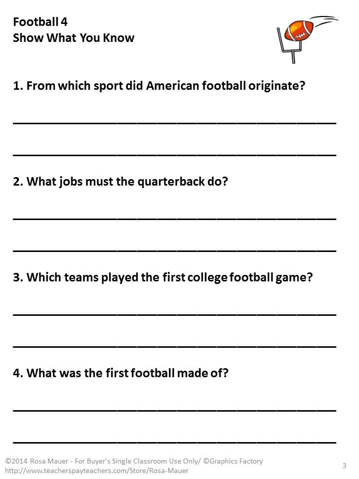 Football season is here. In this self-contained Language Arts packet, you will receive items such as vocabulary word cards and definitions, a nonfiction passage with reading comprehension questions, a poem about football, an alphabetical order worksheet, and an editing practice worksheet. A teacher copy with answers is included.