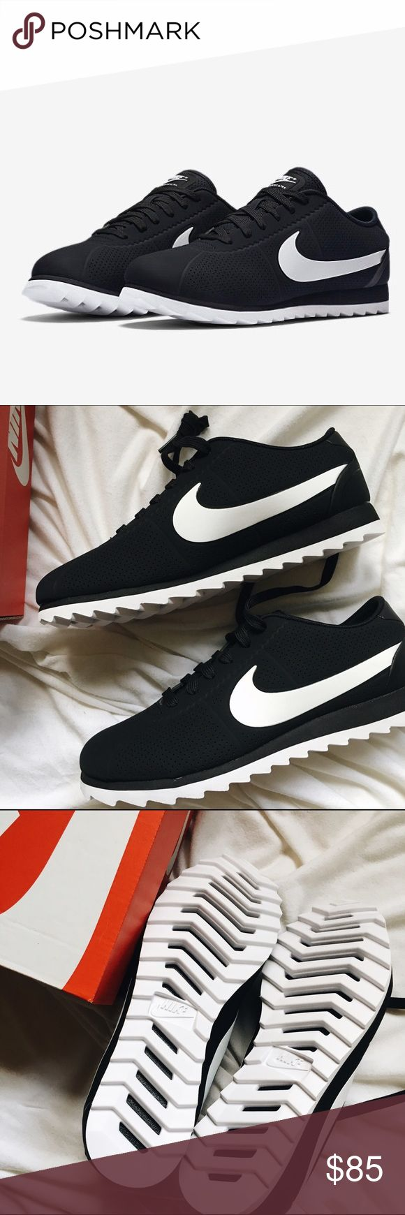 NWT Nike Cortez Ultra Moire | 5.5 | Black ✨ NEW WITH BOX ✨  Size women's 5.5  Cute, classic Nike Cortez sneakers in black and white.  Comment with any questions! I'm open to reasonable offers. Nike Shoes Athletic Shoes
