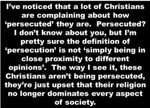 Christian 'persecution' is them simply being upset that their religion no longer…