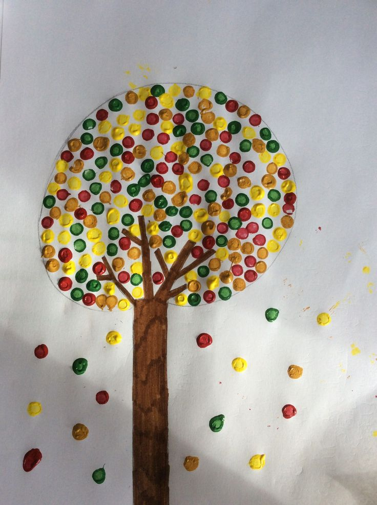 Done with earbuds an easy way to make an autumn tree took only 10mins!