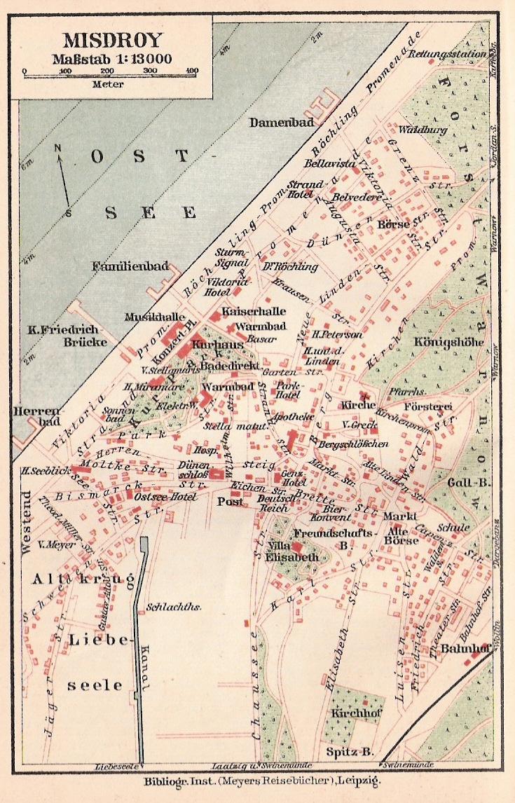 Plan des Badeorts Misdroy um 1910