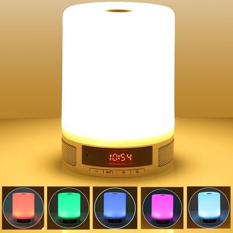"""ELEGANCE, SPACE, PACE"" WIRELESS BLUETOOTH SPEAKER WITH SMART LED LAMP #Smart Lamp Speaker #HandsFreeSpeakerPhone #AlarmClock and #DigitalClock AllinOne #BuiltInMicrophone #TFCardSupport #TouchControlFourBrightnessLevels #SmartSleepMode Price: $49.99 Product Code: ONT-BT-37243"