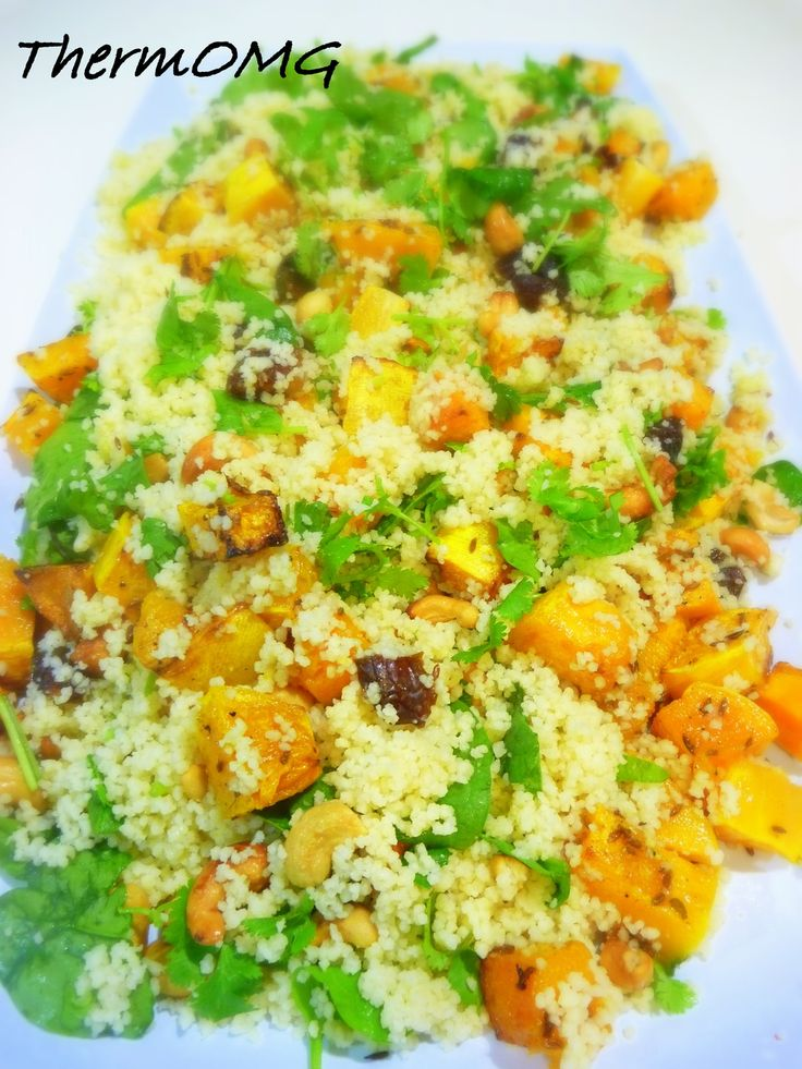 Pumpkin & Cashew nut Cous Cous, serve with a Lemon Coriander Chicken and a simple yoghurt dressing - ThermOmg