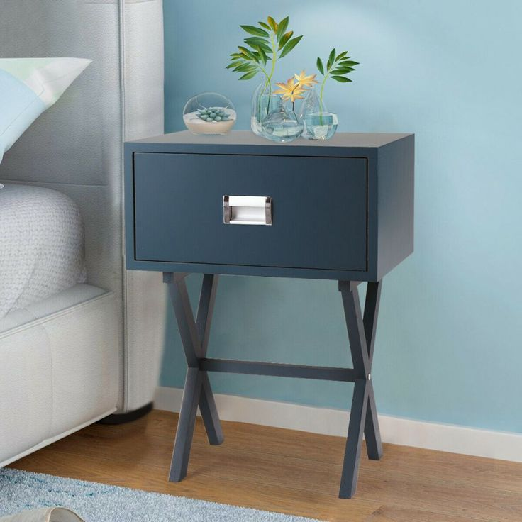 Best 2020 的 Modern Minimalist Nightstand Blue Grey Bedside 400 x 300