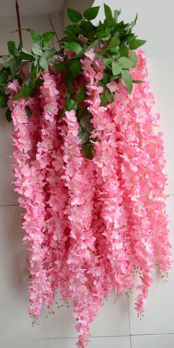 You Will Get 1 Branch Wisteria Hanging Flowers Material Silk Color Pink Total Length 70 Inches Flower W In 2020 Paper Flower Garlands Paper Flowers Hanging Flowers