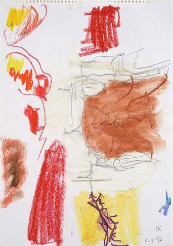 Per Kirkeby, Sans titre, 1996, crayon, pastel, craie et aquarelle sur papier, 41,8 x 29,6 cm