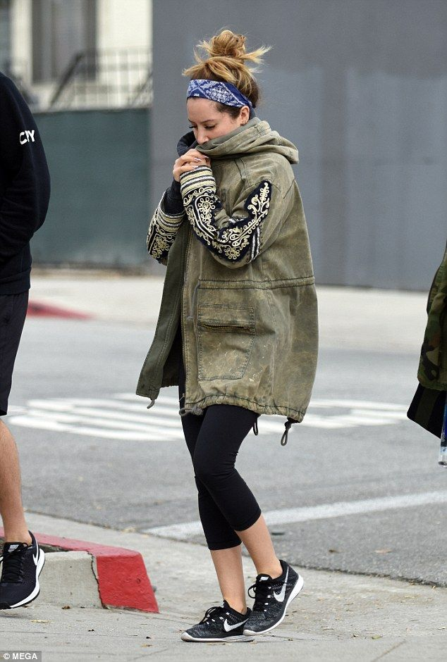 Follow Ashley's lead in an embroidered parka by Free People. Click 'Visit' to buy now. #DailyMail