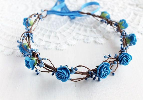 Royal Blue Bridal Crown Something Blue Halo by NoviaBellaTS