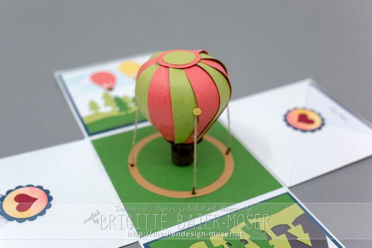 Explosionsbox mit einem Heißluftballon. Hergestellt von Brigitte-Baier-Moser mit Stampin'Up!