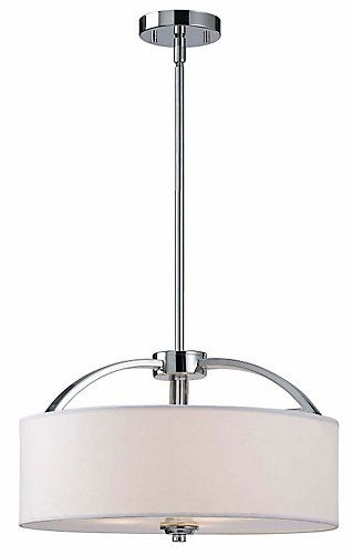 Canarm Ltd. MILANO 3 Light Chrome Chandelier, White Fabric Shade With Frosted…