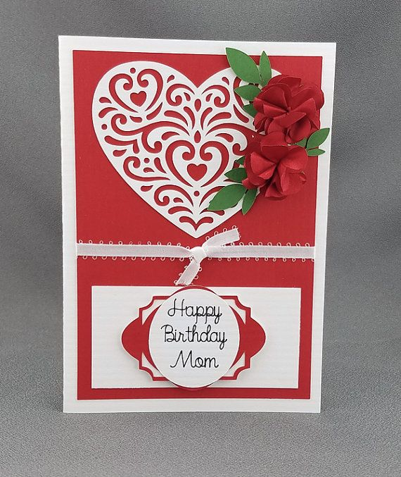 Handmade Red Happy Birthday Mom Card by CraftyGalCards on Etsy
