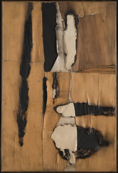 Alberto Burri (1915-1995) was een Italiaanse schilder en beeldhouwer. Hij wendde zich tot de abstracte kunst en maakte collages met gebruikmaking van materialen als puimsteen, teer, jutezakken en metaal. Daarnaast maakte hij landschapskunst. Hij geldt als een voorloper van de arte povera en zijn stijl wordt gerekend tot de art informel.