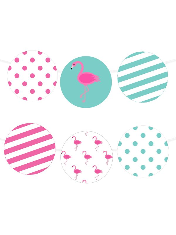 Free Printable Polka Dot Flamingo Garland from printablepartydecor.com