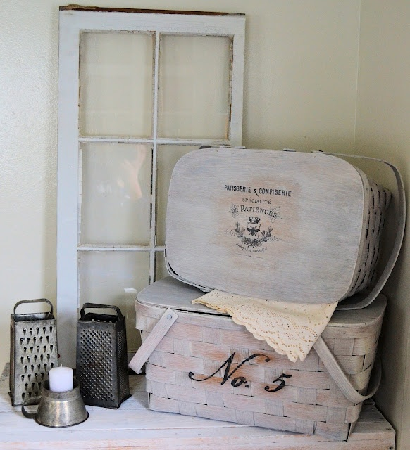 Shabby Love, I am usually a traditionalist but I love these pic nic baskets (got loads of them) that have been Frenchified