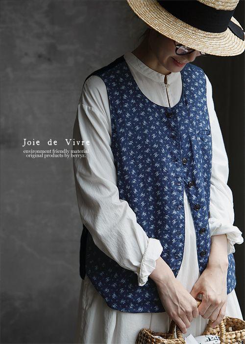 New 8/16(wed)10:00。【送料無料】Joie de Vivreラミーリネンインディゴ抜染めプチフルールジレ