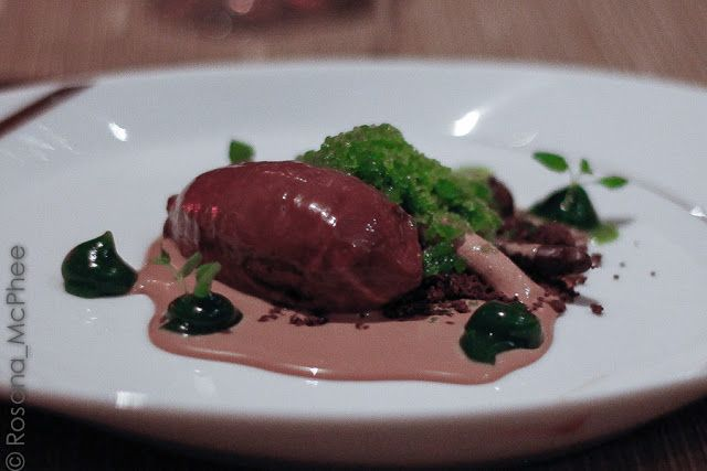 Dark chocolate Délice, peppermint granita and gel - a great way to finish another feast! by Chef Adam Simmonds