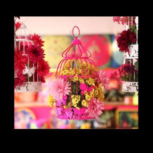 Casa Pop - Floral Cage Arrangement Fuchsia