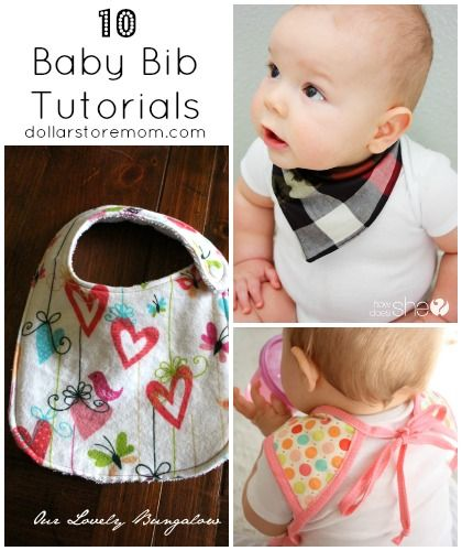 10 Baby Bib Tutorials for Your Messy Eater via Dollar Store Mom