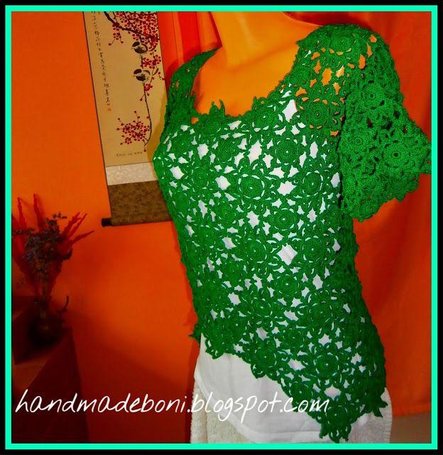 HandmadeBoni: Zielona koronkowa bluzka. Zrób razem ze mną :-)