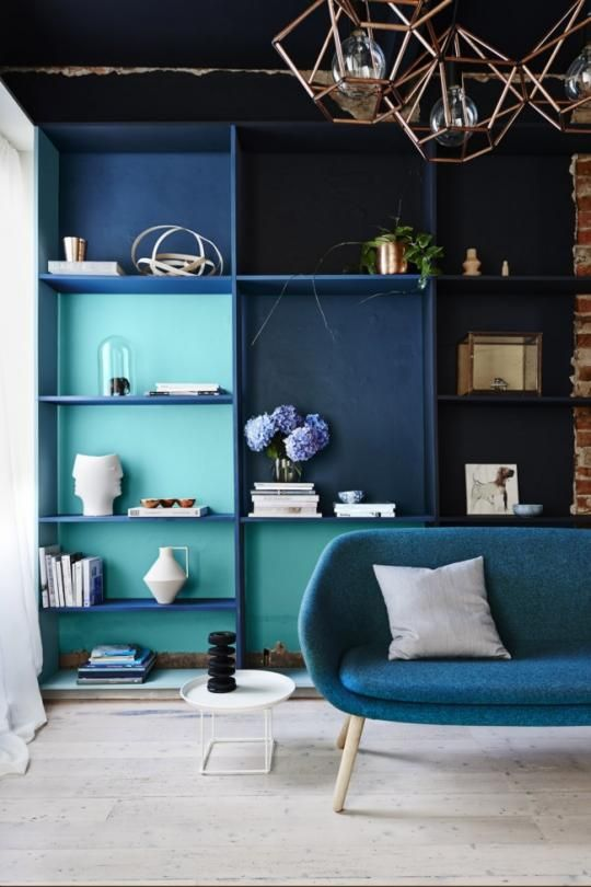 Beautiful bookshelves in shades of blue — a #DIY pretty much anyone could do.