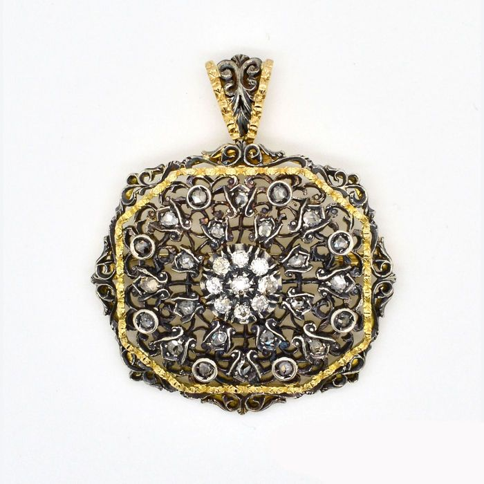 Online veilinghuis Catawiki: Hanger / broche met diamanten – Hanger / broche met diamanten uit 1940.
