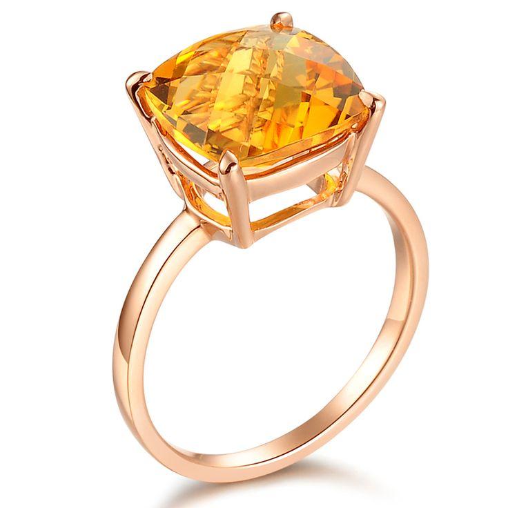 Romantic 4ct Citrine Ring 14K Rose Gold #Engagement_Ring