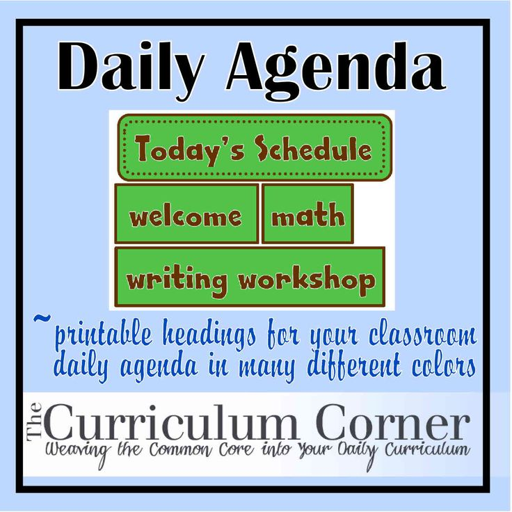 Classroom Agenda - daily titles for your board or pocket chart.  Let children know your schedule with these cute signs.  Print, laminate and cut.  They come in 4 different colors to match your classroom!