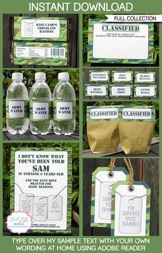 Camo Army Party Printables| Army Birthday Party Theme invitations & decorations