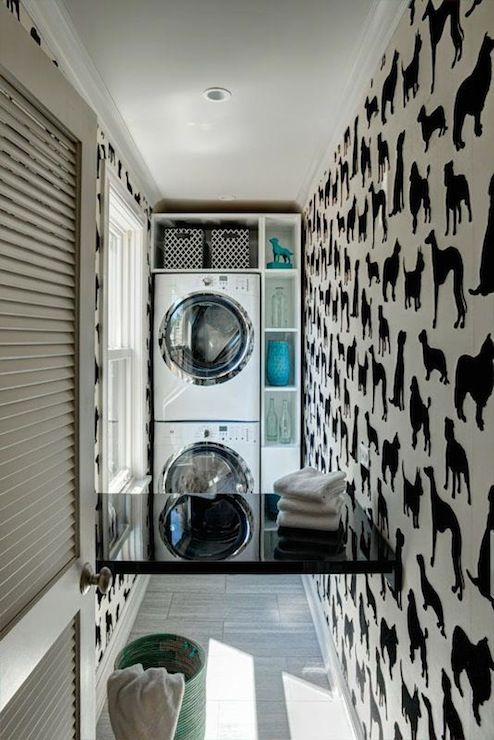 Space Architects & Planners: Chic laundry room covered in Madison Humphrey - Dog Flock Velvet Wallpaper. White ...