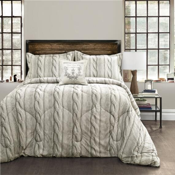 4 Piece Printed Cable Knit Comforter Set In 2019 Comforter Sets