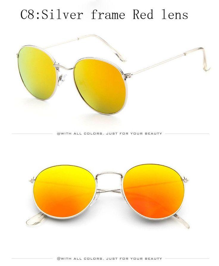 Vintage Round Sunglasses Women men female brand Metal Frames Mirror Lenses Sun Glasses For women retro Male