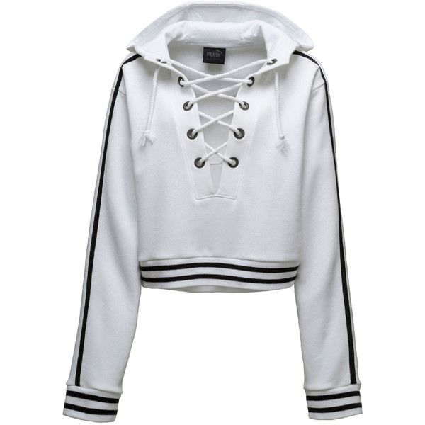Fenty Puma By Rihanna Lace-Up Hoodie Sweatshirt found on Polyvore featuring tops, hoodies, sweaters, jackets, jumpers, white, women's apparel jackets, white crop top, white hoodie and cropped hoodie