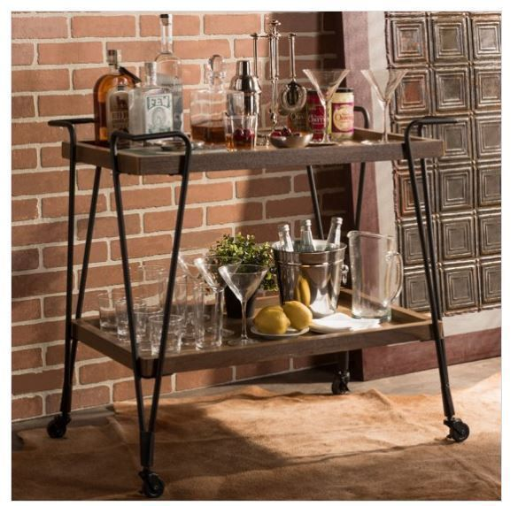 Bar Carts and Serving Carts 183320: Home Bar Cart Rolling Wine Serving Table Rustic Metal Industrial Drinks Outdoor -> BUY IT NOW ONLY: $139.99 on eBay!