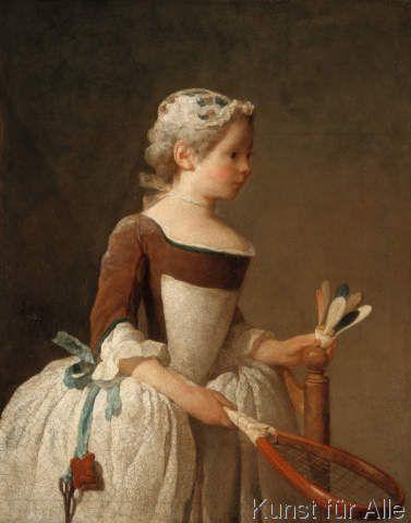 Jean-Baptiste Simeon Chardin - Junges Mädchen beim Federballspiel