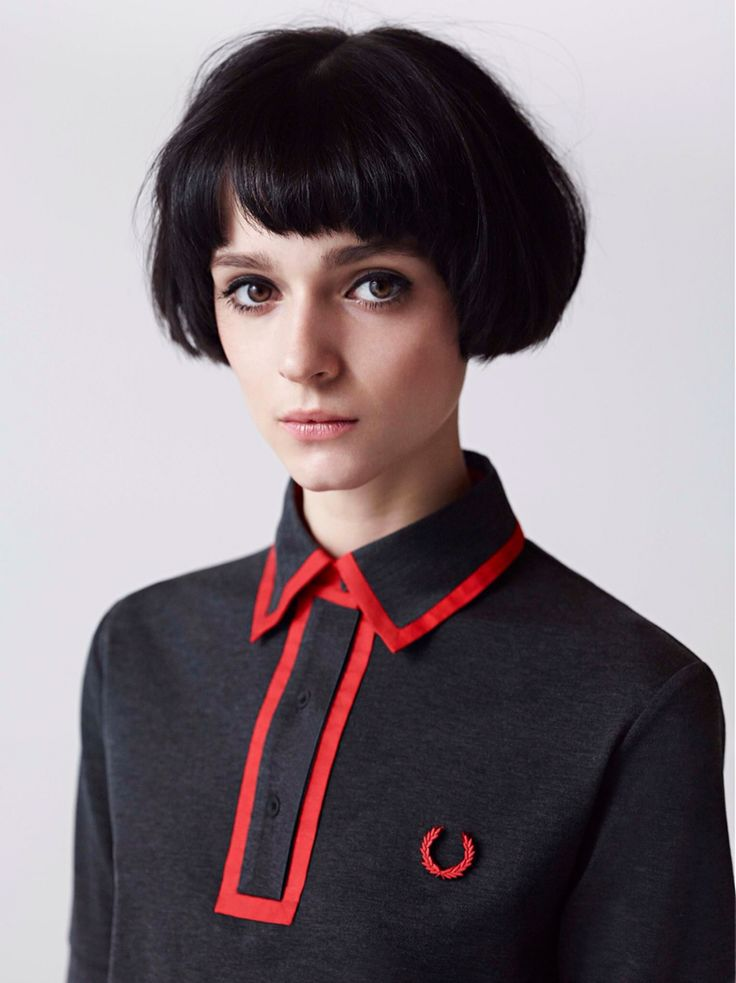 Fred Perry dress in black with red bias tape accents