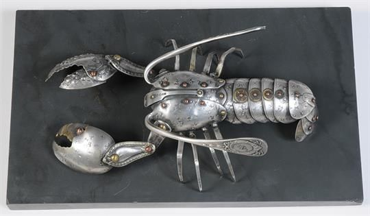 SHELLEY ANDERSON Lobster Sculpture made from silver plated cutlery Impressed signature Copperwork